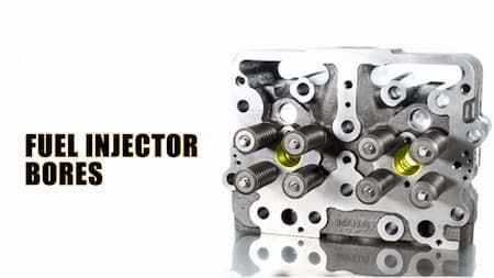 cylinder head highlighted fuel injector bores diagram   Highway & Heavy Parts