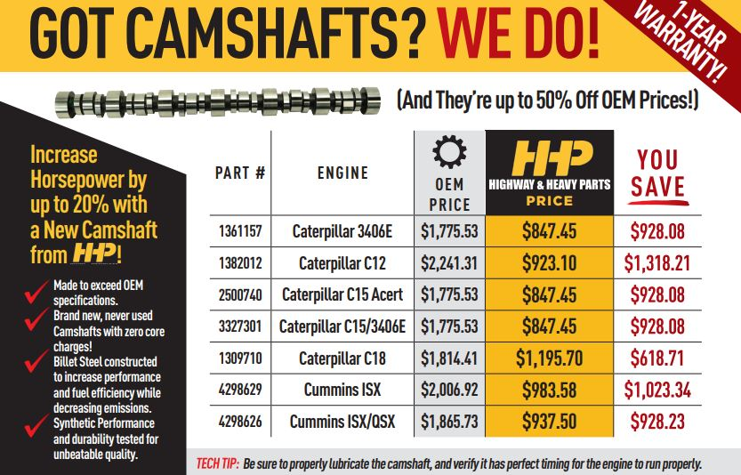 Camshafts at Highway and Heavy Parts