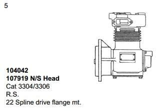 107919 | 2151 Brake Air Compressor, Remanufactured (Front Cover Studs)